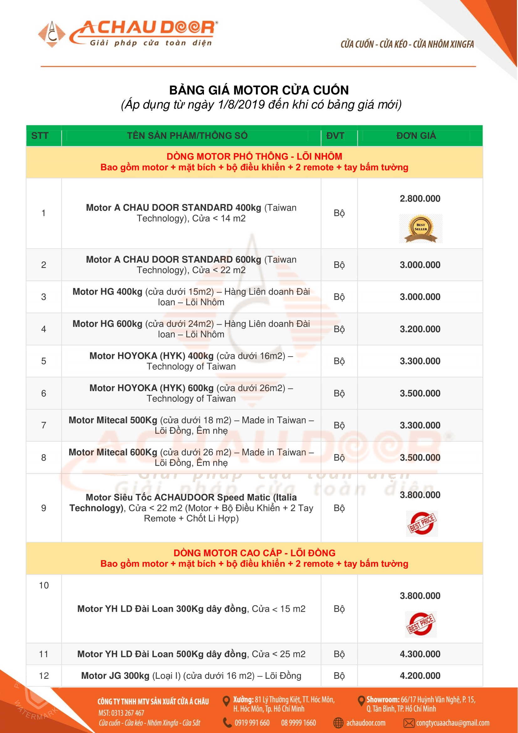 Motor Cửa Cuốn YH Đài Loan ® 1