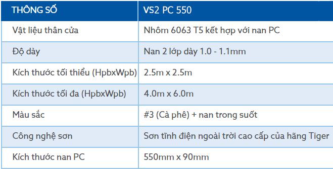 Thông số kỹ thuật dòng cửa cuốn trong suốt Austdoor Austvision